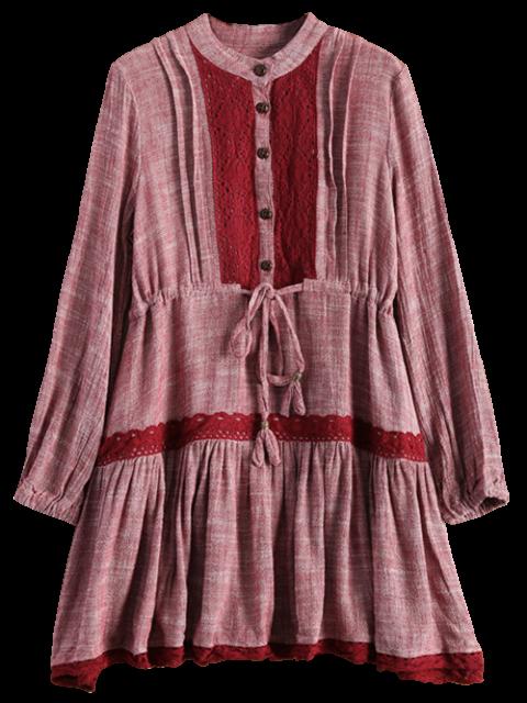 shop Long Sleeve Lace Bib Smock Dress - WINE RED L Mobile