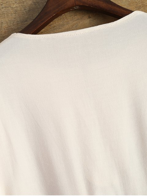 new Asymmetrical Smock Blouse - KHAKI XL Mobile