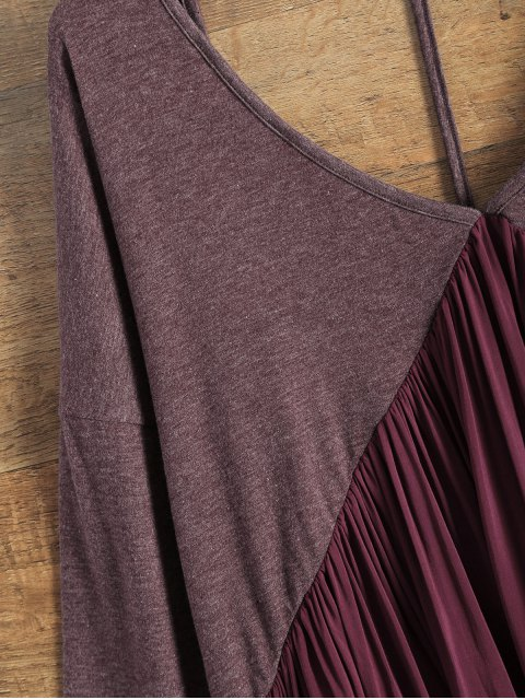 shops Oversized Low Back Plunge Swing Tee - WINE RED L Mobile