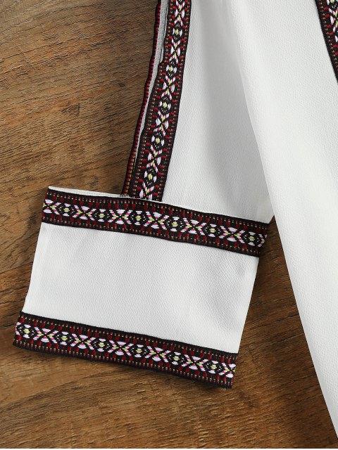 fancy Embroidered Cold Shoulder Blouse - WHITE L Mobile
