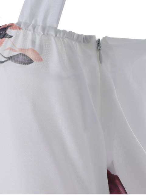 unique Sleeveless Chiffon Maxi Floral Dress - WHITE L Mobile