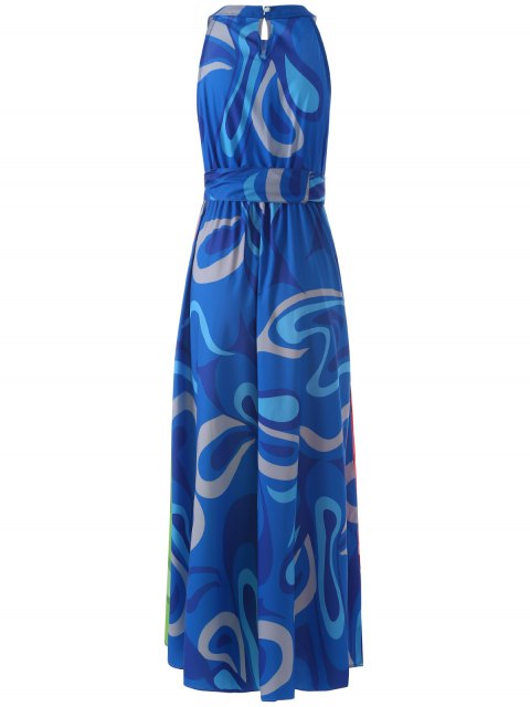 affordable Colored Maxi Halter Beach Dress - COLORMIX S Mobile