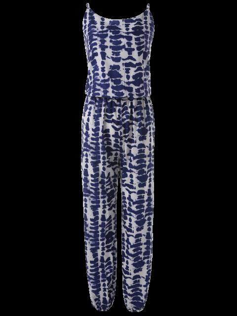trendy Cami Tie Dye Beach Jumpsuit - BLUE S Mobile