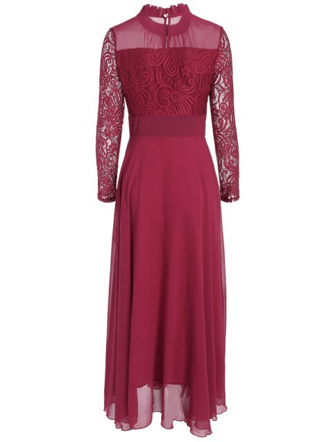 womens Lace Chiffon Ruffle Collar Evening Dress - BURGUNDY M Mobile
