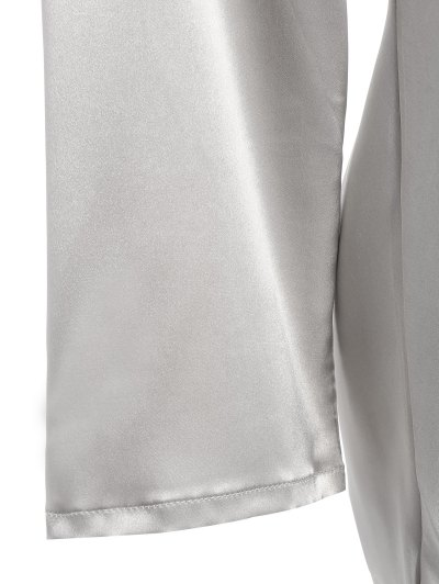Faux Silk Sweetheart Neck Pajama Suit - SILVER XL Mobile