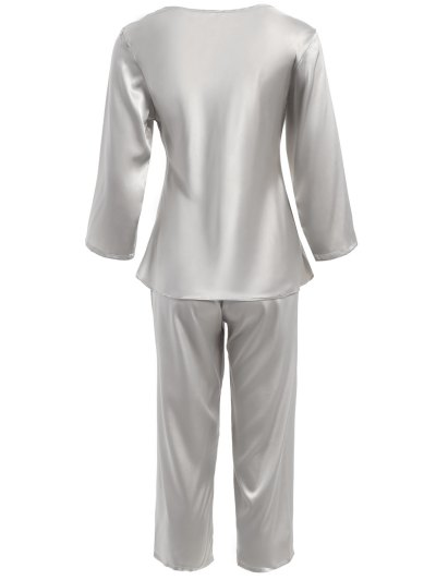 Faux Silk Sweetheart Neck Pajama Suit - SILVER M Mobile