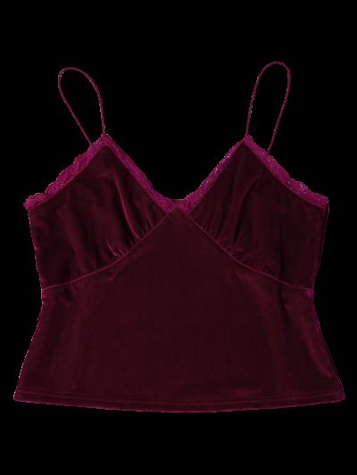 Lace Trim Velvet Camisole Top - BURGUNDY L Mobile