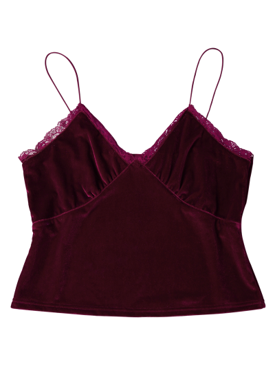 Lace Trim Velvet Camisole Top - BURGUNDY M Mobile