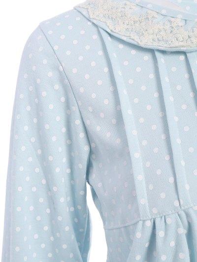 Peter Pan Collar Polka Dot Loungewear Set - LIGHT BLUE XL Mobile