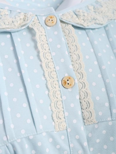 Peter Pan Collar Polka Dot Loungewear Set - LIGHT BLUE L Mobile