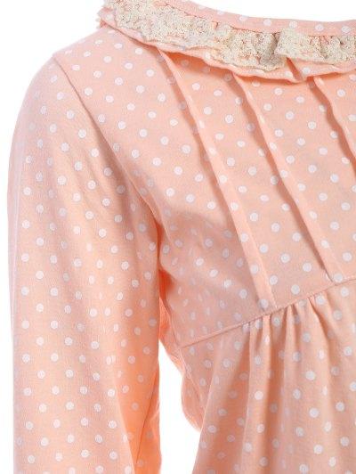Peter Pan Collar Polka Dot Loungewear Set - ORANGEPINK XL Mobile
