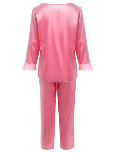 Fringed Ruffle Pullover Faux Silk Loungewear - DEEP PINK L Mobile