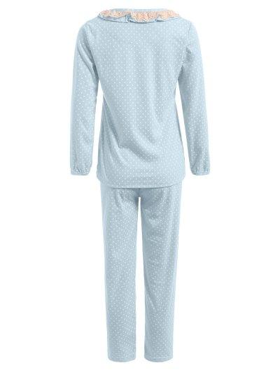 Peter Pan Collar Polka Dot Loungewear Set - LIGHT BLUE M Mobile