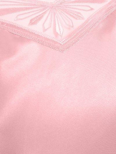Faux Silk Sweetheart Neck Pajama Suit - PAPAYA XL Mobile
