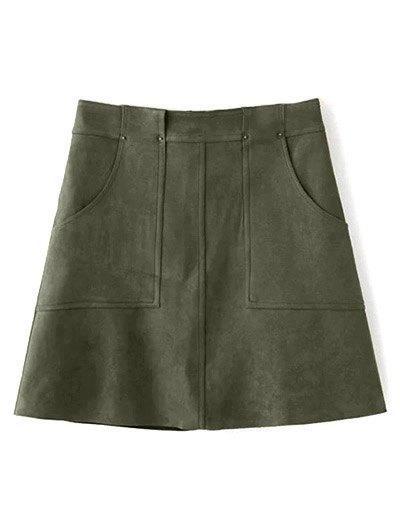 A Line Front Pockets Suede Skirt - OLIVE GREEN M Mobile