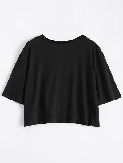 Tropical Print Cropped T-Shirt - BLACK XL Mobile