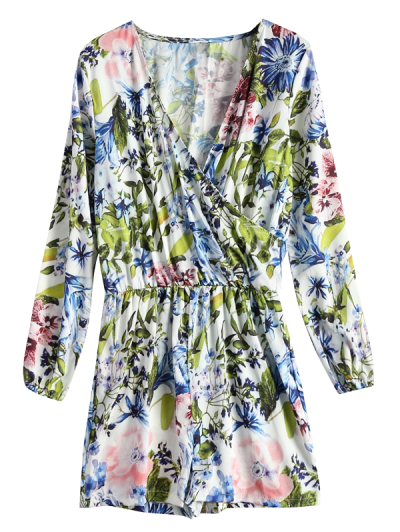 Long Sleeve Wrap Floral Romper - BLUE XL Mobile