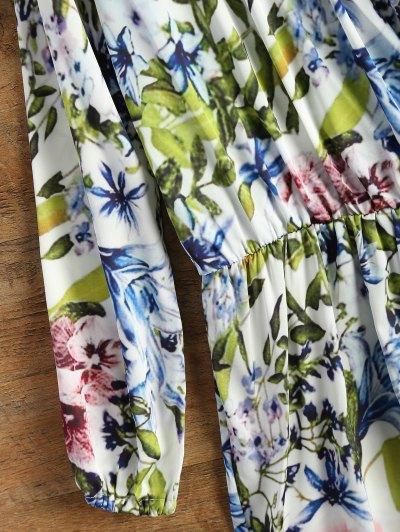 Long Sleeve Wrap Floral Romper - BLUE L Mobile