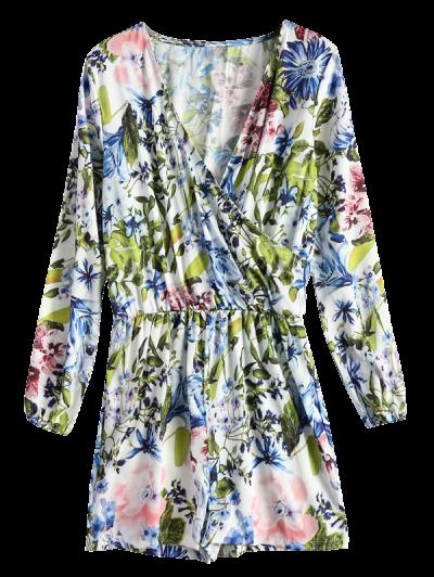 Long Sleeve Wrap Floral Romper - BLUE M Mobile