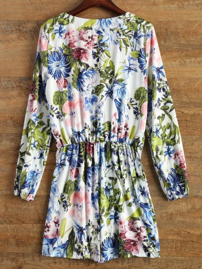Long Sleeve Wrap Floral Romper - BLUE S Mobile