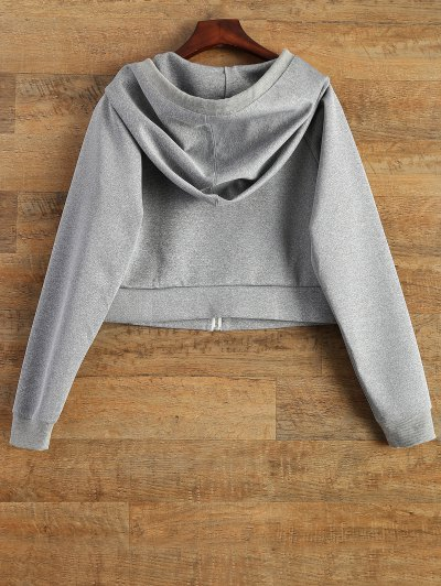 Hooded Cropped Jacket - GRAY L Mobile