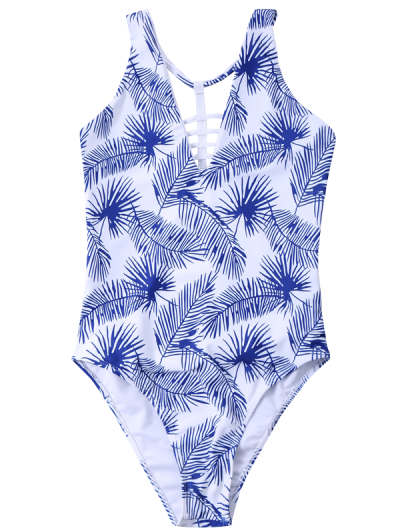 Strappy Printed One-Piece Swimwear - WHITE L Mobile
