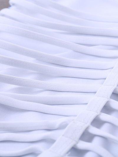 Strappy Printed One-Piece Swimwear - WHITE M Mobile