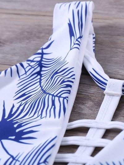 Strappy Printed One-Piece Swimwear - WHITE S Mobile