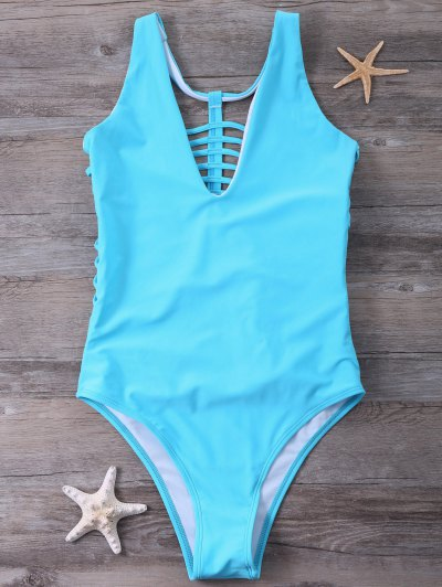 Strappy One-Piece Swimwear - BLUE L Mobile