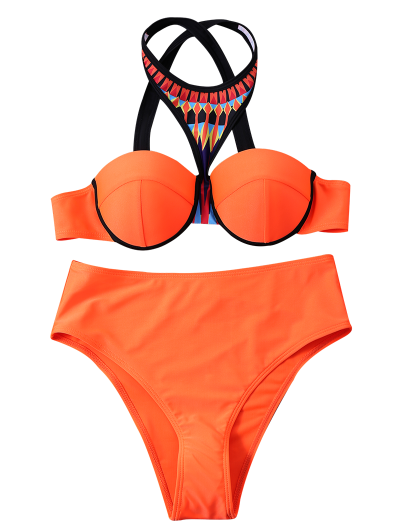 Print Panel Push Up Bikini Set - JACINTH XL Mobile