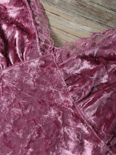 Sweatheart Velvet Cami Top - DEEP PINK M Mobile