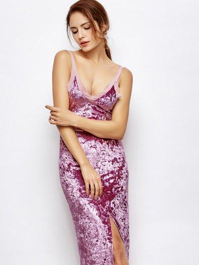 Front Slit Crushed Velvet Maxi Dress - PURPLE L Mobile