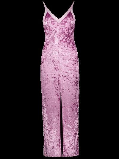 Front Slit Crushed Velvet Maxi Dress - PURPLE S Mobile