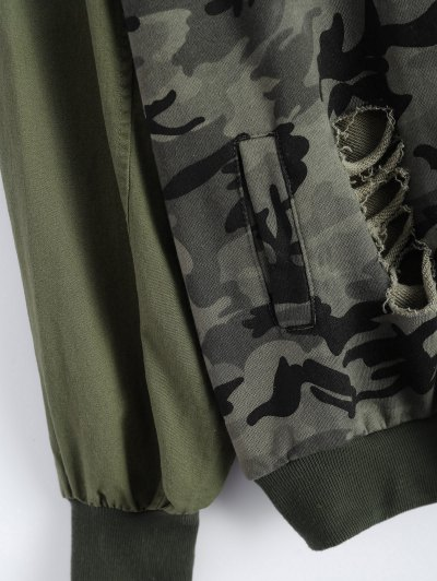 Distroyed Camo Bomber Jacket - ACU CAMOUFLAGE L Mobile