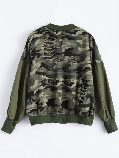 Distroyed Camo Bomber Jacket - ACU CAMOUFLAGE M Mobile