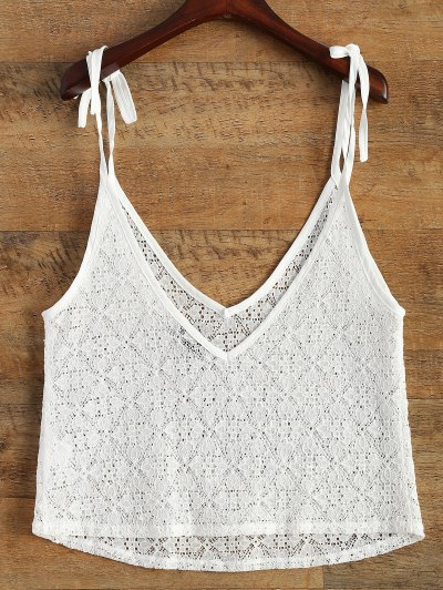 V Neck Sheer Lace Cami Top - WHITE 2XL Mobile