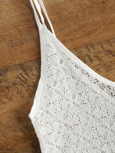 V Neck Sheer Lace Cami Top - WHITE XL Mobile