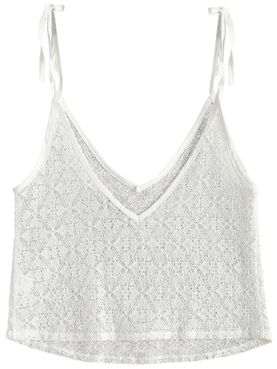 V Neck Sheer Lace Cami Top - WHITE L Mobile