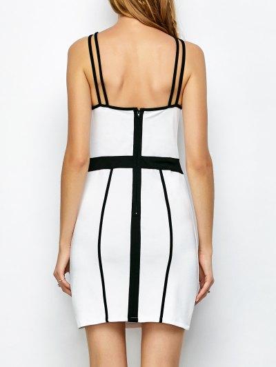 Piping Bodycon Bandage Slip Dress - WHITE XL Mobile