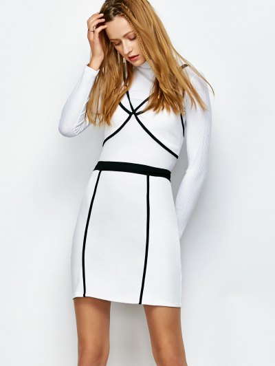 Piping Bodycon Bandage Slip Dress - WHITE M Mobile