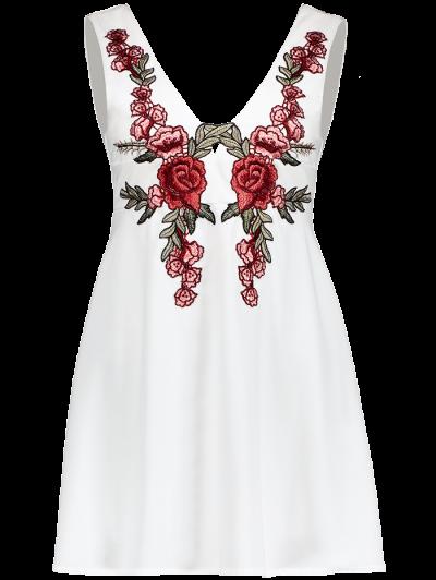 Floral Plunging Neck Mini Dress - WHITE XL Mobile