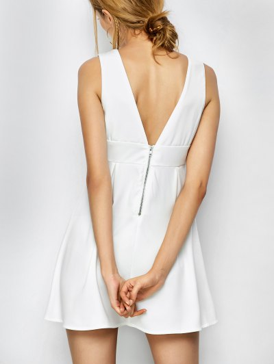 Floral Plunging Neck Mini Dress - WHITE L Mobile