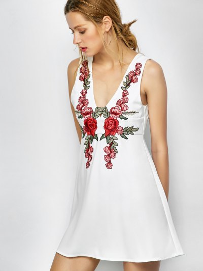 Floral Plunging Neck Mini Dress - WHITE S Mobile