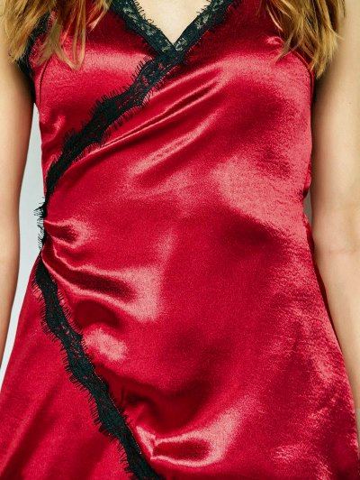Lace Insert Wrap Slip Dress - BURGUNDY L Mobile