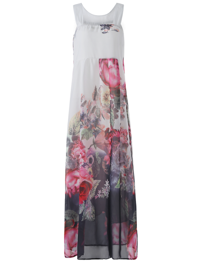 Sleeveless Chiffon Maxi Floral Dress - White