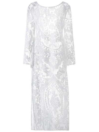 Flare Sleeve Sheer Lace Maxi Dress - White