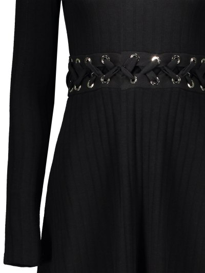 Ribbed A Line Midi Sweater Dress - BLACK L Mobile