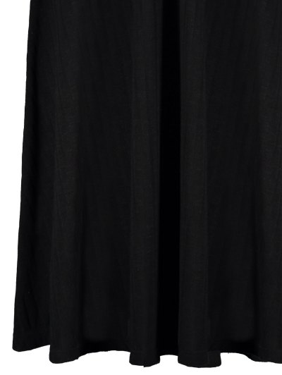 Ribbed A Line Midi Sweater Dress - BLACK S Mobile
