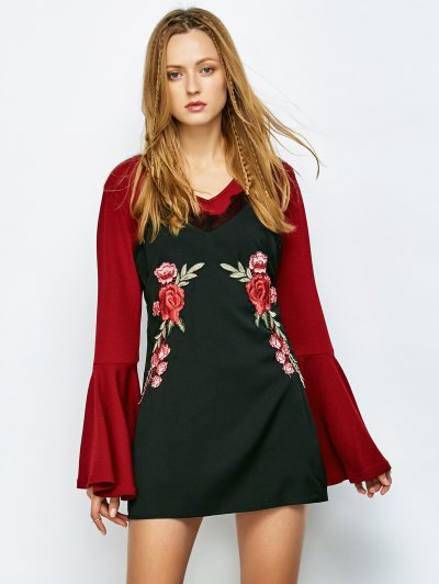 Floral Patched Mini Cami Dress - BLACK XL Mobile
