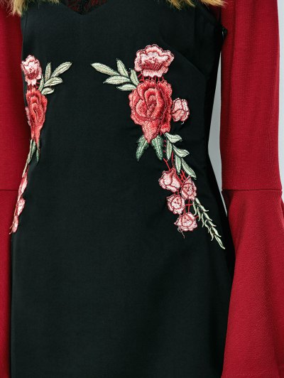 Floral Patched Mini Cami Dress - BLACK L Mobile